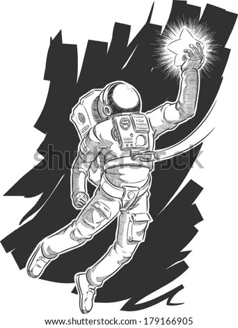 Sketch of Astronaut or Spaceman Grabbing a Star - stock vector