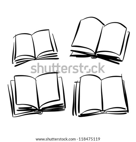 Sketch of books - stock vector