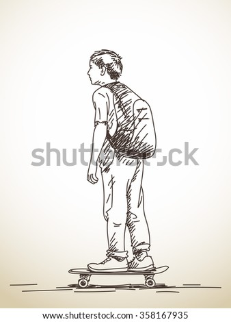 Sketch of boy on skateboard, Hand drawn illustration - stock vector