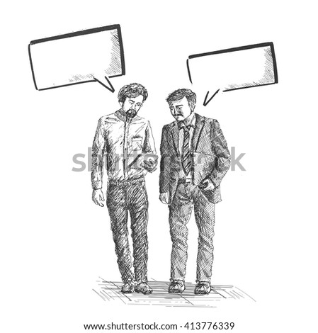 Sketch of business partners walking down with speech bubble on white background   - stock vector