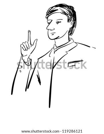 Sketch of businessman character - stock vector