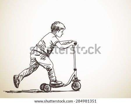 Sketch of Child with kick scooter, Hand drawn illustration - stock vector