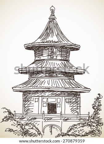 Sketch of Chinese style temple Hand drawn Vector illustration - stock vector