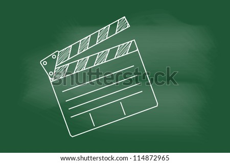sketch of cinema clap on blackboard - stock vector