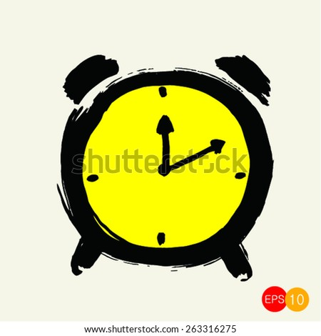 Sketch of clock icon on white background vector - stock vector