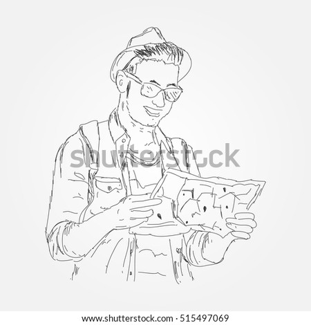 Sketch of Close up of a Young boy as he reads the map, traveling alone - lifestyle,people, outdoor and Holiday concept. Vector illustration eps 10.
