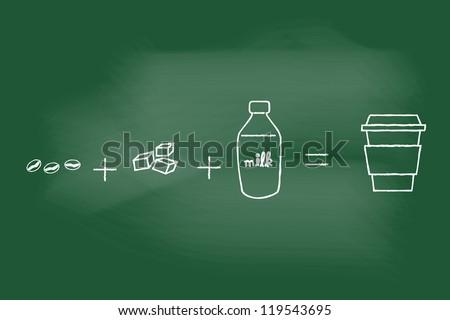 sketch of  coffee on blackboard - stock vector