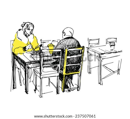 sketch of couple having lunch in the cafe - stock vector