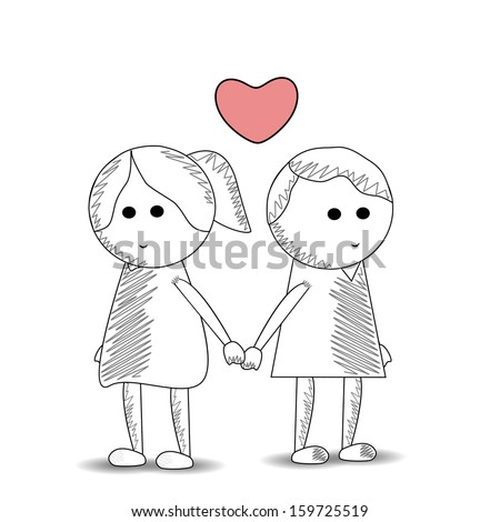 Sketch of cute kids couple holding hands, love concept isolated on white.