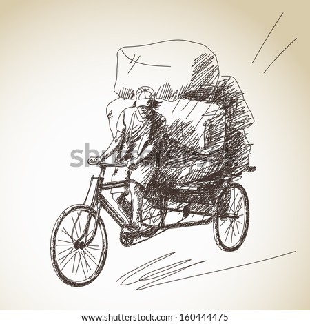 Sketch of cycle rickshaw delivery - stock vector