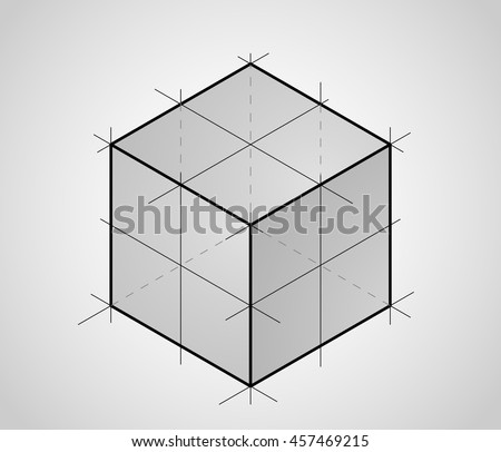 Sketch of 3D cube - stock vector