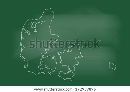 Sketch of Denmark map on blackboard - stock vector