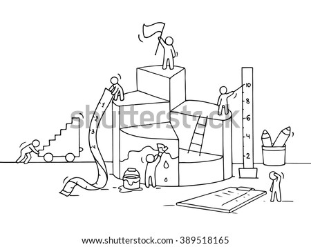 Sketch of diagram construction with working people, ruler. Doodle cute miniature of building diagram and preparing for the big profit. Hand drawn cartoon vector for business design and infographic. - stock vector