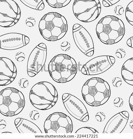 sketch of different balls on gray background - stock vector