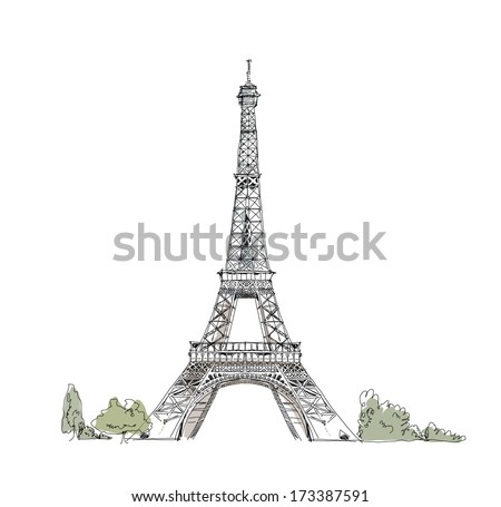Sketch of Eiffel Tower Paris - stock vector