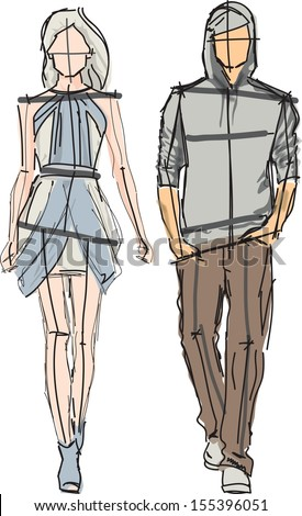 Sketch of fashion man and girl - vector