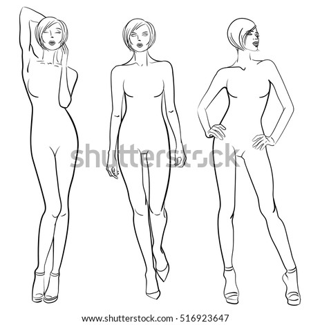 Sketch Fashion Models Templates Design Stock Vector (2018) 516923647 ...