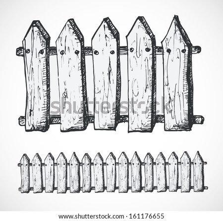 Sketch of fence. Hand-drawn with ink. Vector illustration. - stock vector