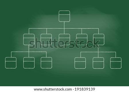 sketch of flowchart on blackboard - stock vector