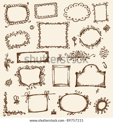Sketch of frames, hand drawing for your design - stock vector