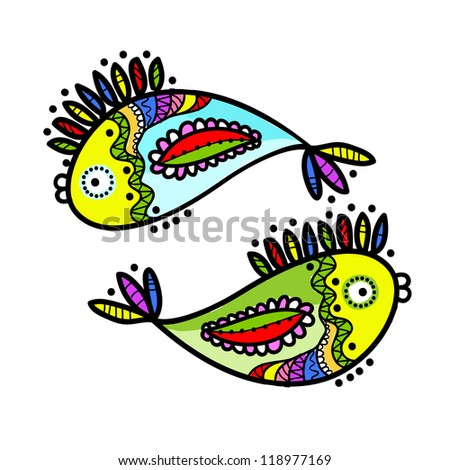 Sketch of funny fishes for your design - stock vector