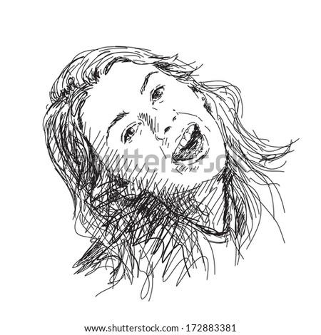 Sketch of girl smile face Vector - stock vector