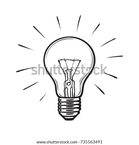 Sketch Of Glowing Light Bulb Creative Idea ConceptSymbol Inspiration Hand Drawn