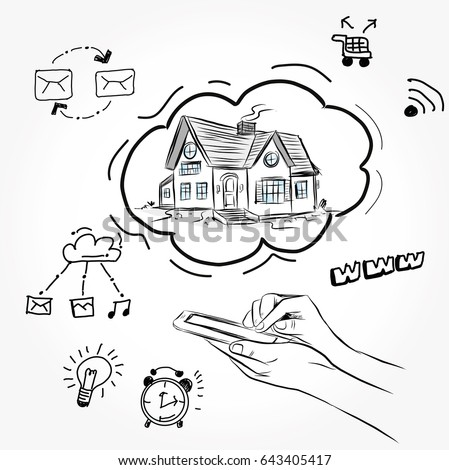 Sketch House Architecture Drawing Free Hand Stock Vector (2018 ...
