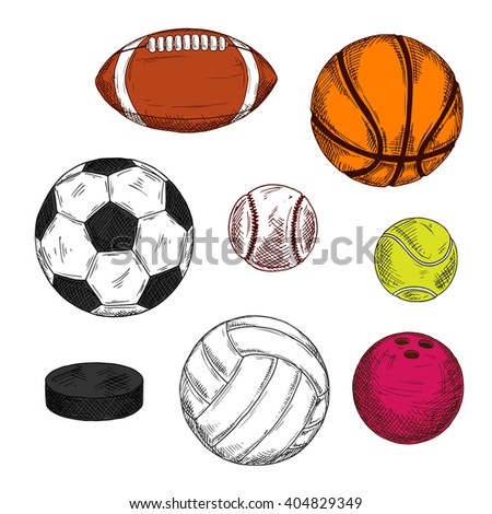 Sketch of ice hockey puck with balls for soccer, american football or rugby, volleyball, baseball, basketball, bowling and tennis. Sporting items for competition theme or sport club design usage - stock vector