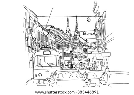 sketch of Ilica  - main street in Zagreb. Croatia.