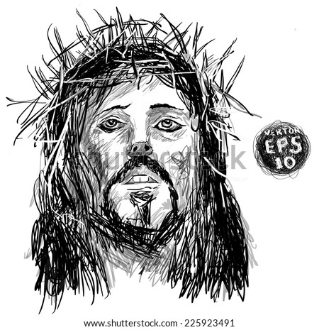 Sketch of jesus christ. pen hands drawing on tablet. Vector EPS 10. Holy God. drawing on white background.   - stock vector