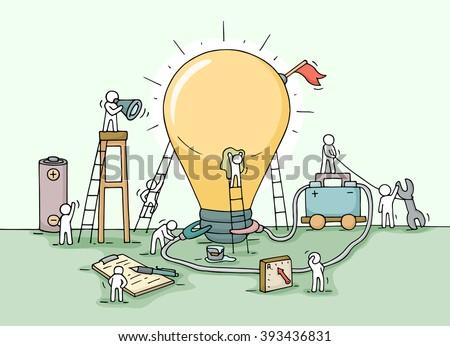 Sketch of lamp idea construction with working little people, battery, flag. Doodle cute miniature of building lighting lamp. Hand drawn cartoon vector illustration for business design and infographic. - stock vector