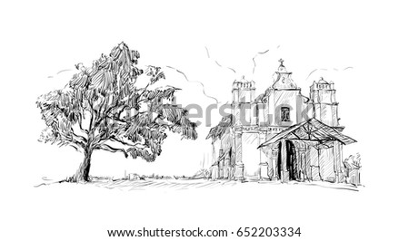 sketch landscape showing india church catholic stock vector royalty