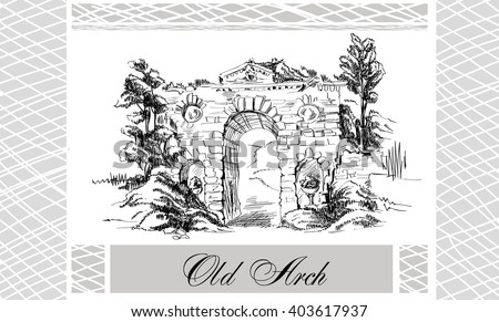 sketch landscape old arch old garden stock vector royalty free