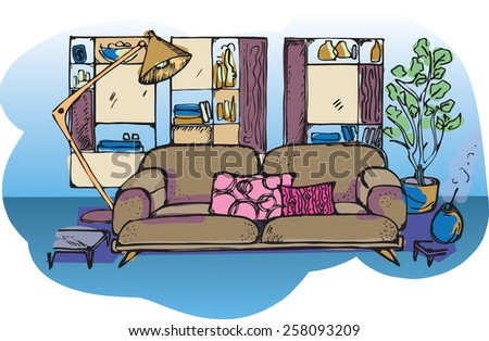 sketch of living room,  background illustration - stock vector