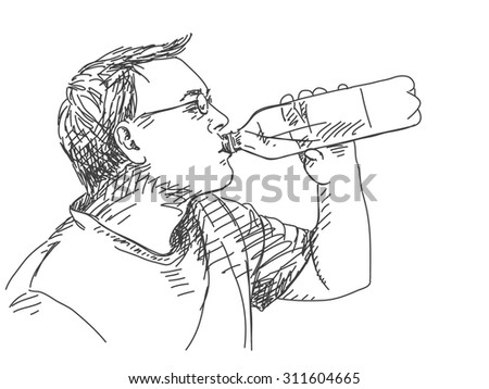 Sketch of man drinking water Hand drawn vector illustration