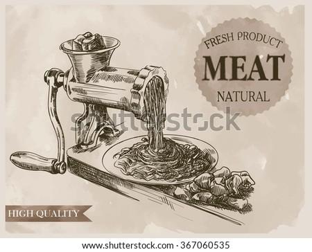 sketch of meat grinder - stock vector