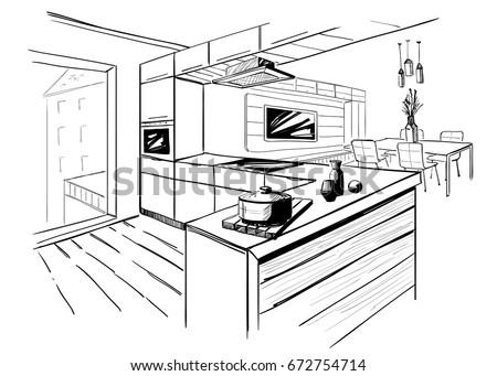 Sketch Modern Corner Kitchen Black Pencil Stock Vector 672754714 - Shutterstock