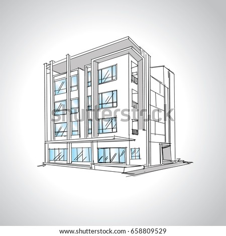 Architectural Drawings Of Modern Houses sketch modern house architecture drawing free stock vector