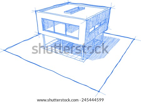 sketch of modern house with shadows, no background - stock vector