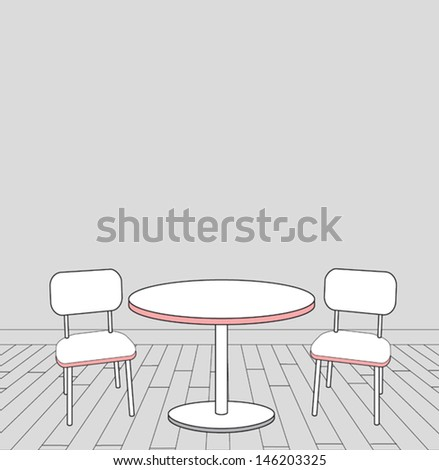 sketch of modern interior table and chairs. vector illustration  - stock vector