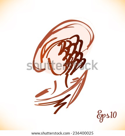 Sketch of modern woman head in retro style. Vector lady portrait - stock vector