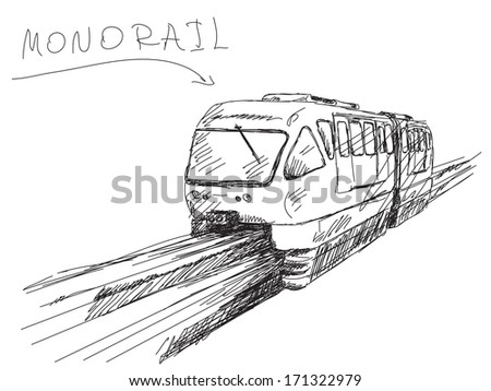 Sketch of monorail train Vector - stock vector