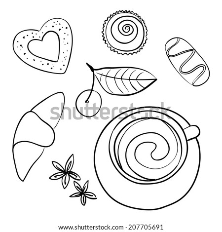 Sketch of morning  coffee, chocolate and cookies, vector illustration - stock vector