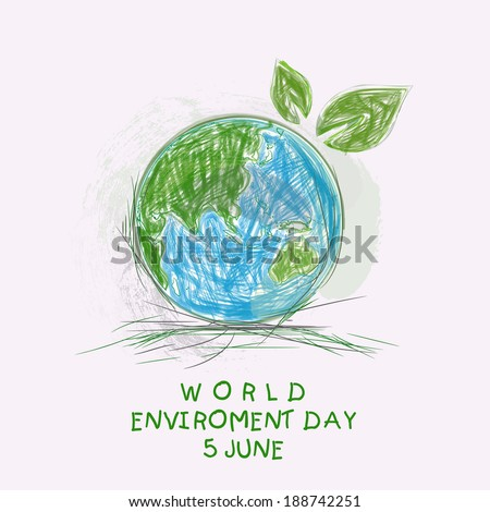 Sketch of mother earth globe with green leaves and stylish text World Environment Day background.  - stock vector