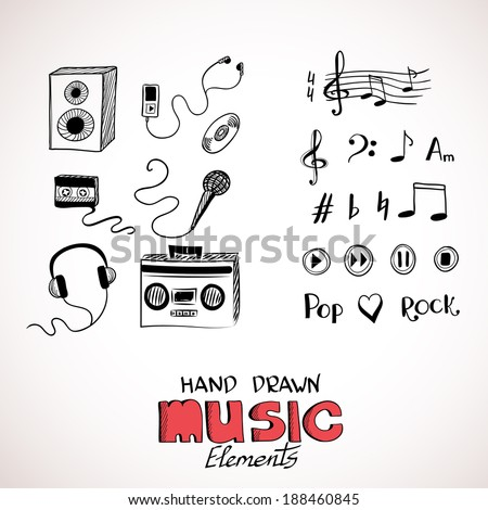 Sketch of music elements - stock vector