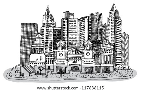 Sketch of New York - stock vector