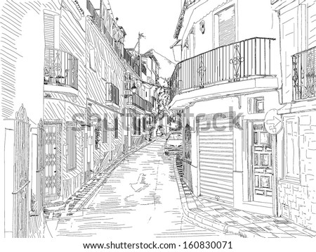 Sketch of old city. Spain. - stock vector