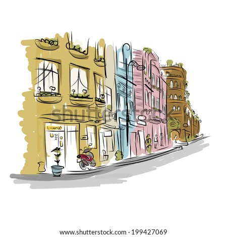 Sketch of old street for your design - stock vector