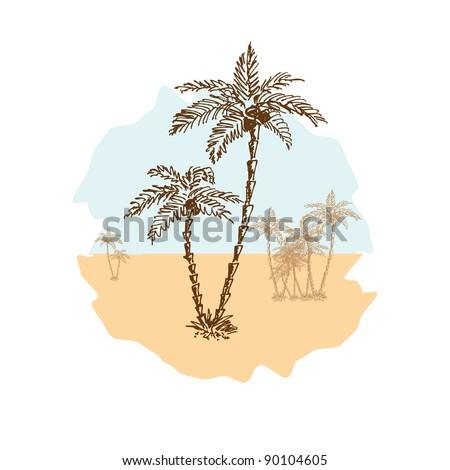 Sketch of palms in the desert, vector illustration, eps10 - stock vector